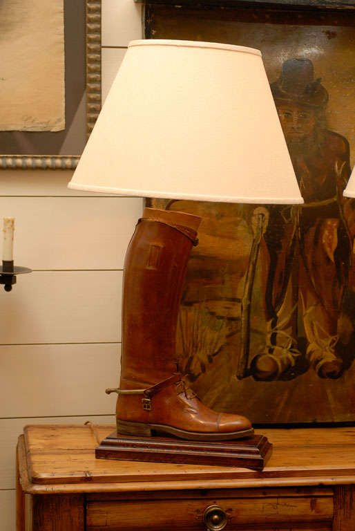 Pair Of Vintage English Brown Leather Riding Boots Mounted As Table Lamps Equestrian Style Decor Fox Hunting Decor Horse Decor