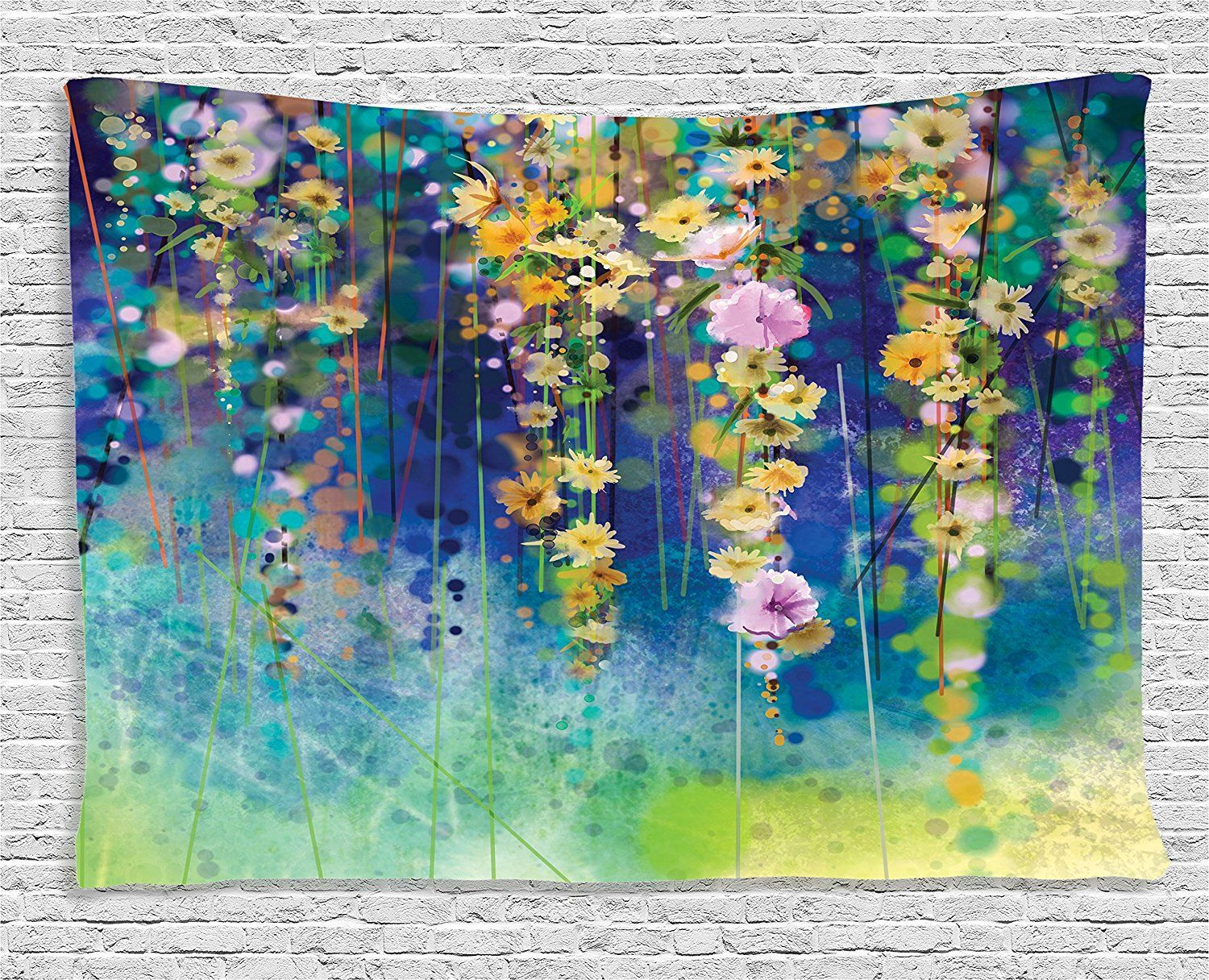 Ambesonne Watercolor Flower Decor Collection Ivies Vines Flowers