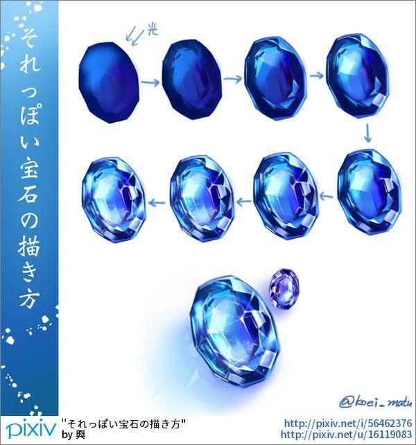Piedra preciosa & diamante | Pintado Digital | Pinterest