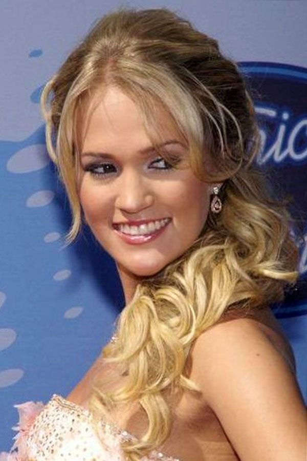 carrie underwood half up half down updos with bangs