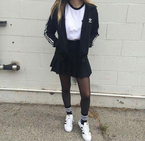 adidas, b&w, black, black and white, clothes, cool, fashion,