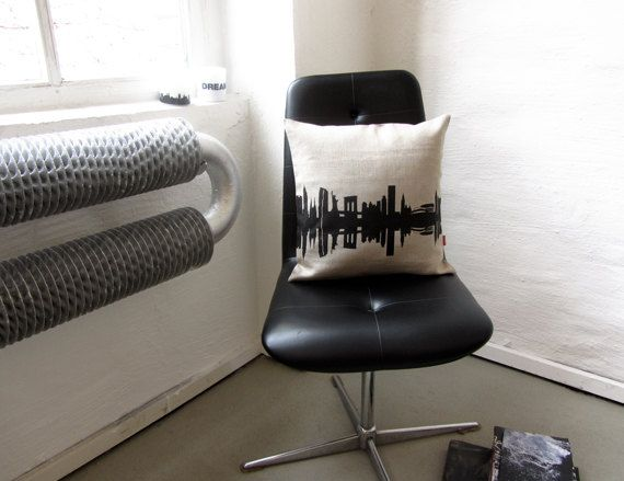 New york nyc screen printed pillowcase natural linen throw pillow cushion cover city