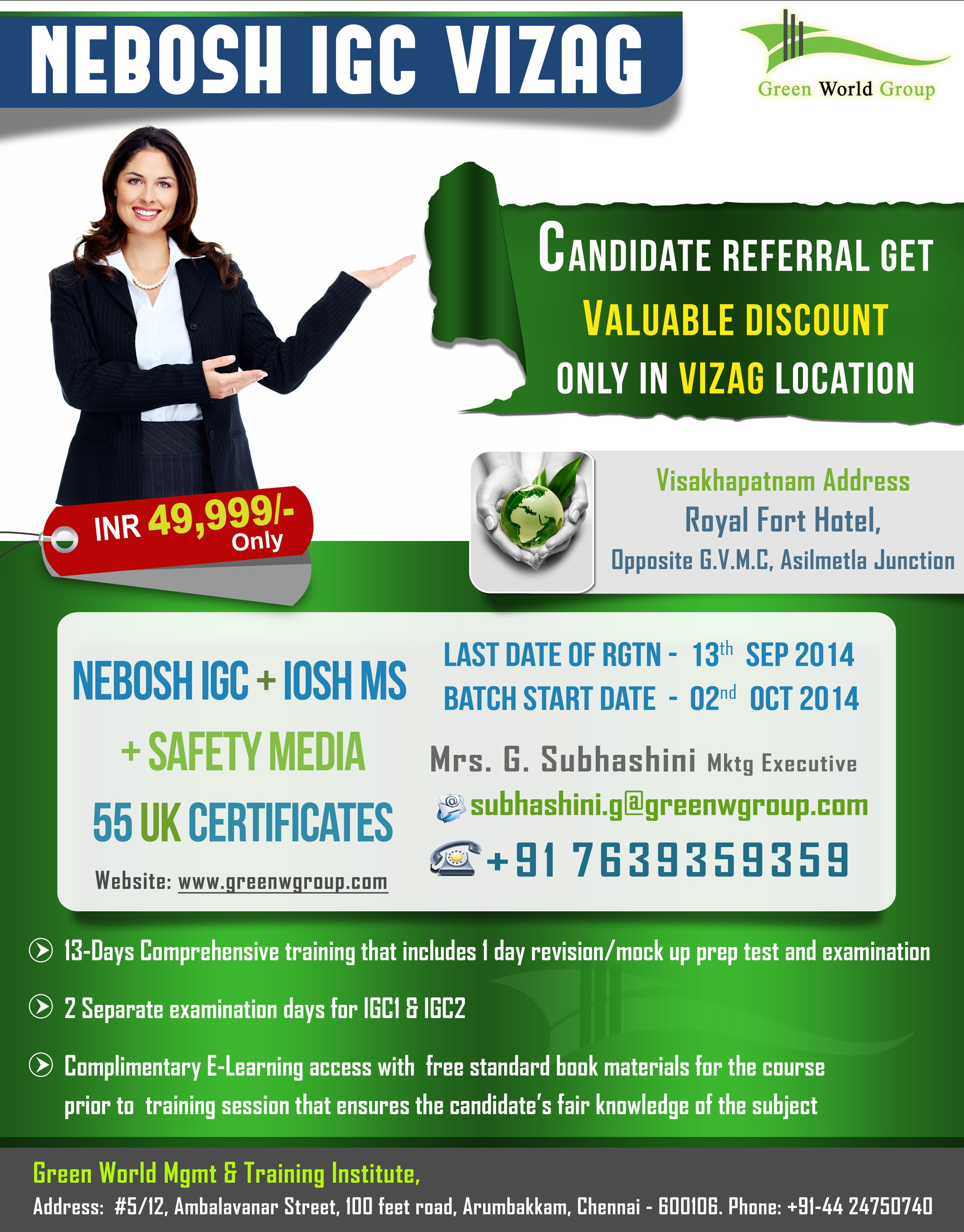 Green World Group Special Offers For Nebosh Igc Training In Vizag At