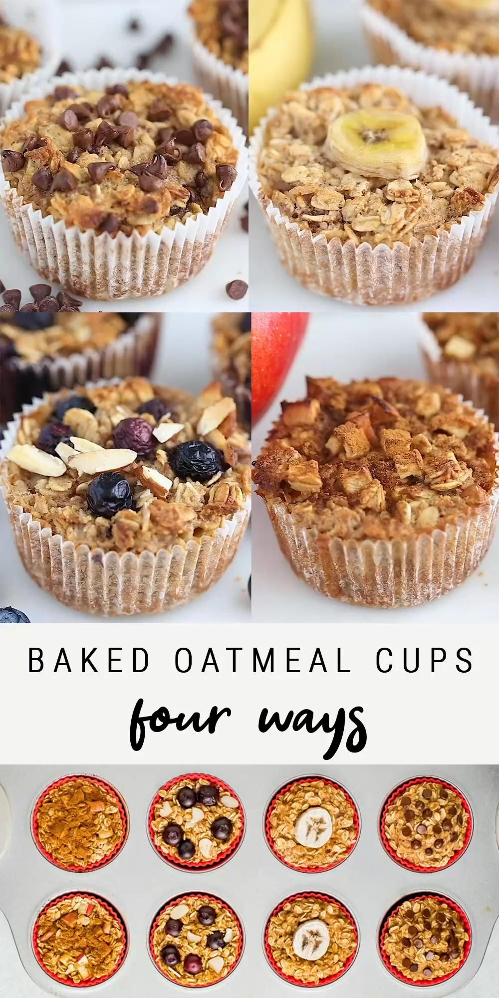 Baked Oatmeal Cups 4 -Ways | Healthy + Easy Recipe