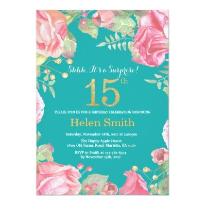 Floral Surprise 15th Birthday Gold and Teal Invitation | Zazzle.com images