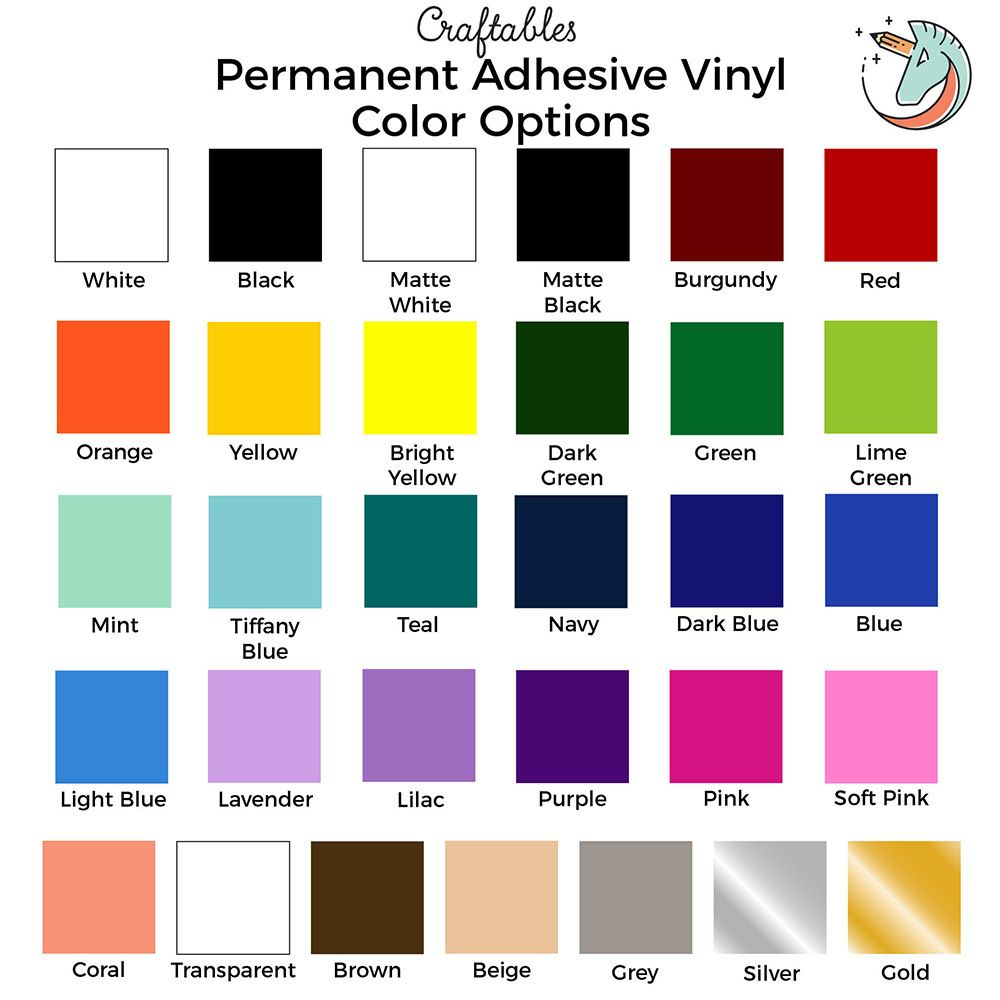 Adhesive Vinyl Rolls For Cricut Permanent Vinyl 12in X 10ft By Craftables Adhesive Vinyl Sheets Adhesive Vinyl Vinyl Rolls