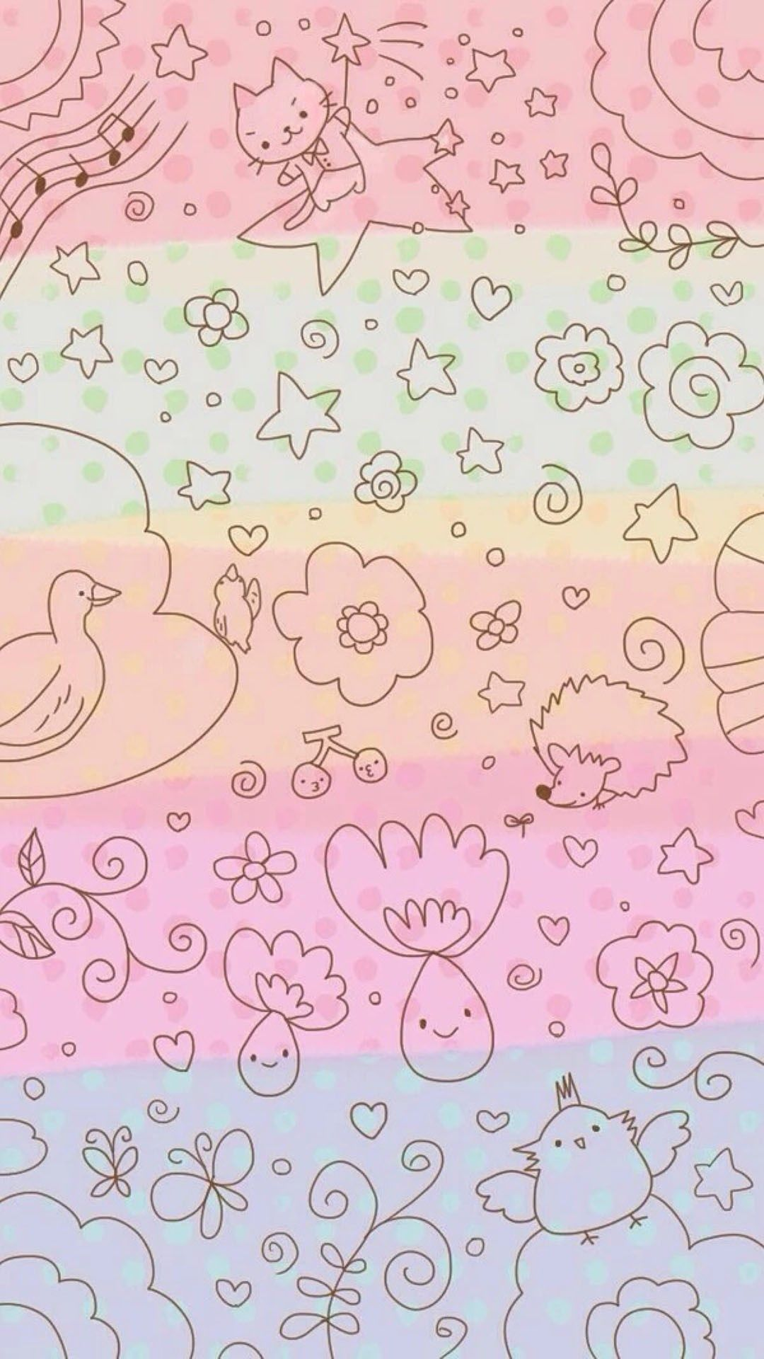 Dreamy Anime Cute Kitten Pattern Painting Background