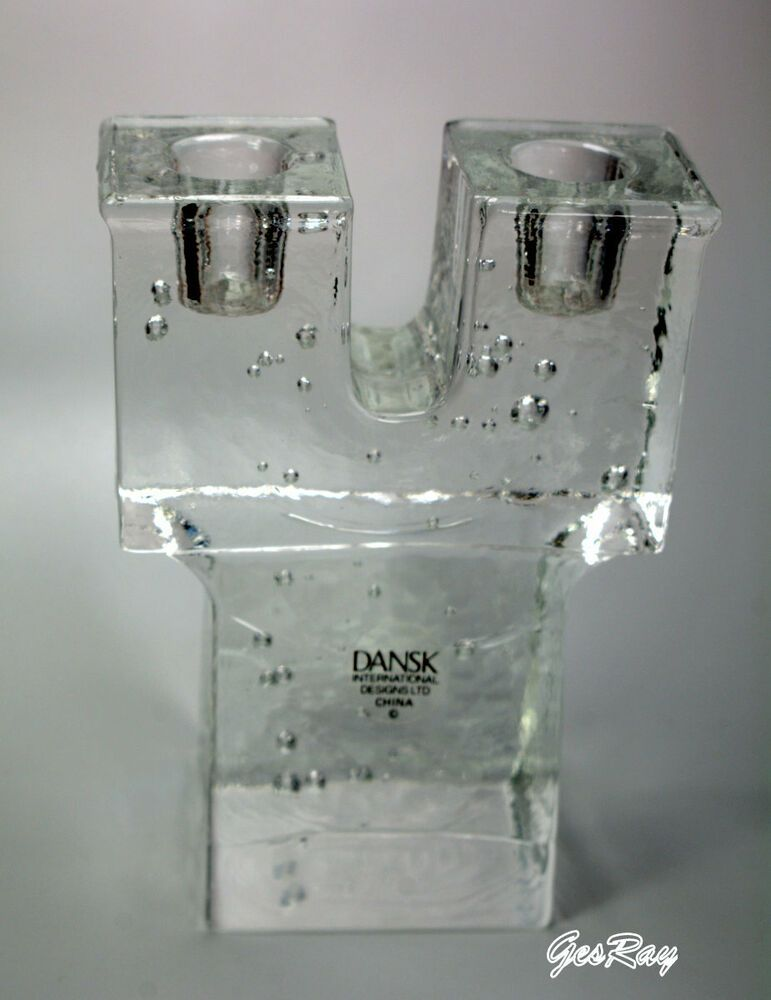 Vintage Dansk Bubble Ice Block Candlesticks Danish Modern