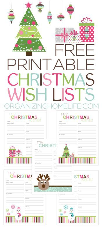 Free Printable Christmas Wish Lists via Organizing Homelife FREE - Kids Christmas List Template