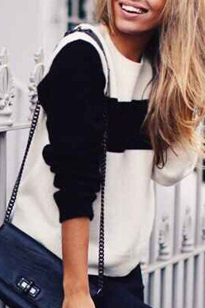 Casual Round Collar Long Sleeve Hit Color Sweater For Women