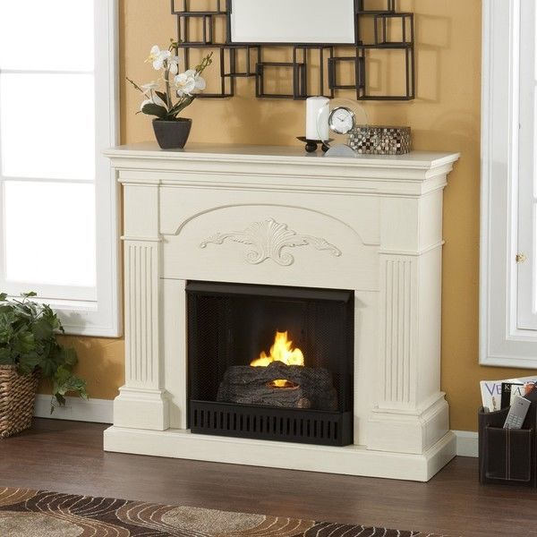 gilbert ivory mantle fire glo gel fuel space heater firebox portable fireplace - Gel Fuel Fireplace