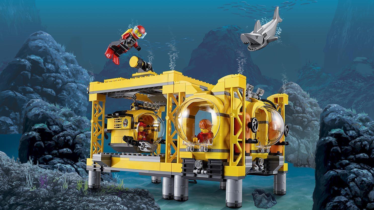 Lego City Deep Sea Base Shark And Explorer Minifigures Deep Sea Operation Base 60096 Lego Design Lego City Lego Activities