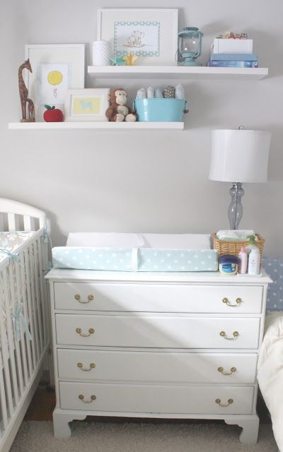 Beautiful small space nursery - I love how the clothes are ...