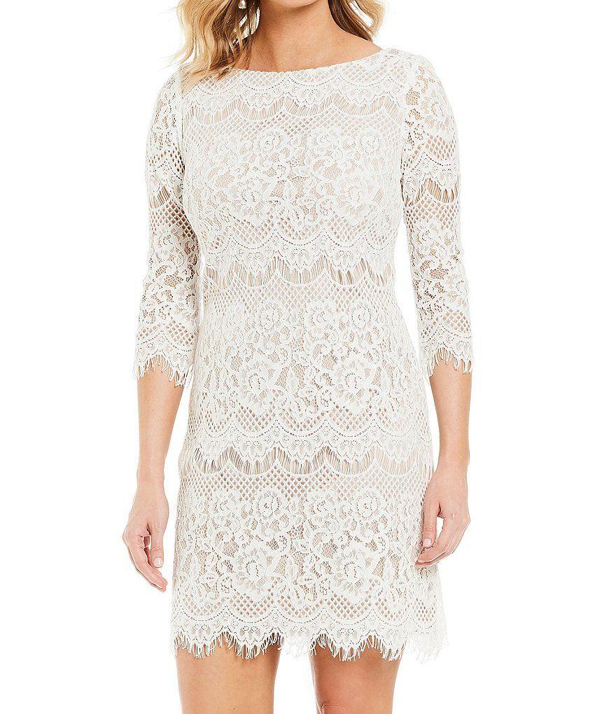 Jessica Howard Boat Neck 3 4 Sleeve Scalloped Lace Shift Dress Dillard S Lace Shift Dress Shift Dress Dresses [ 1020 x 880 Pixel ]