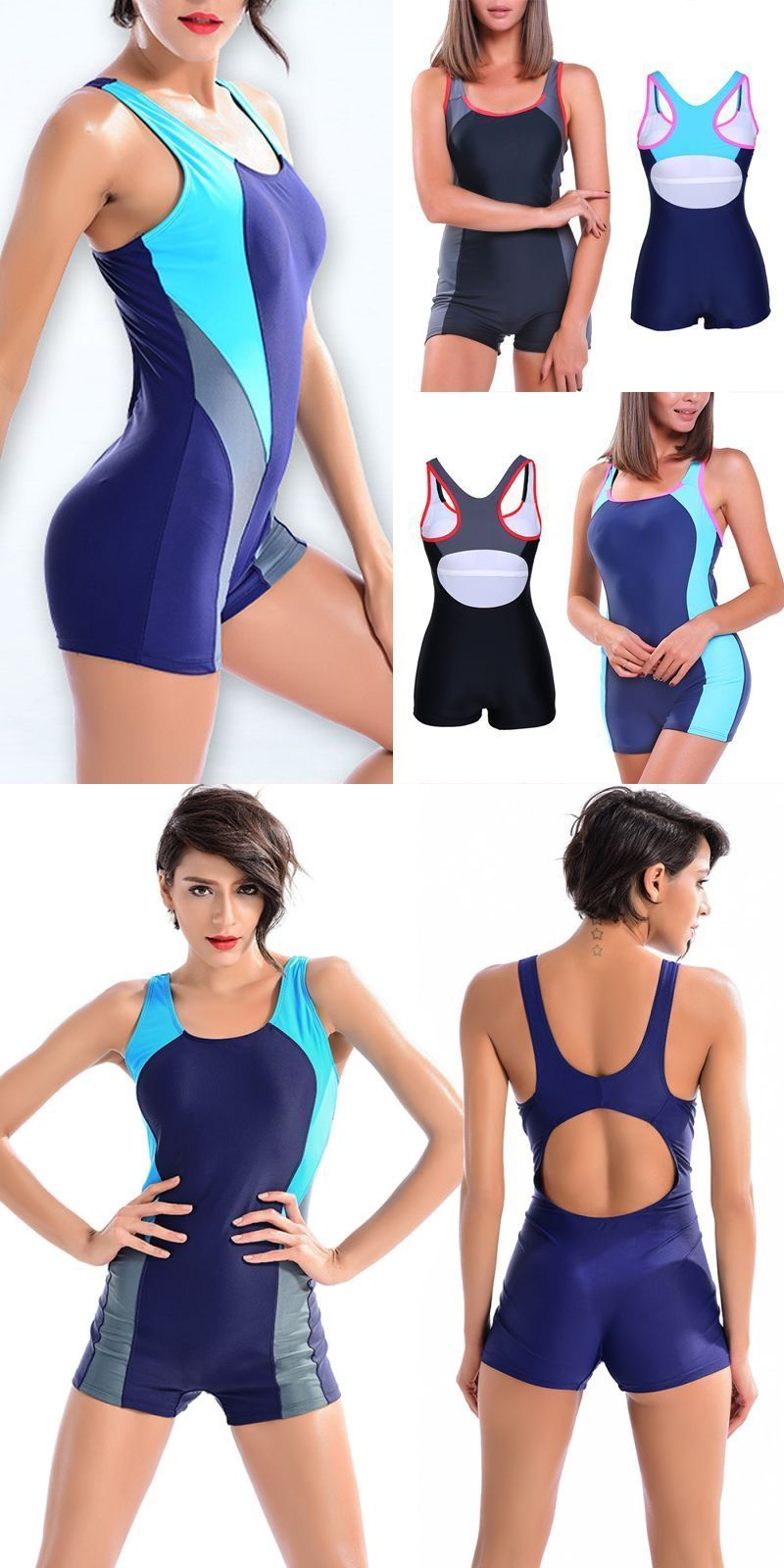 3e5289c15de Plus size 2018 sports one piece soft padded swimsuits swimwear women shorts  backless bathing suits swimming