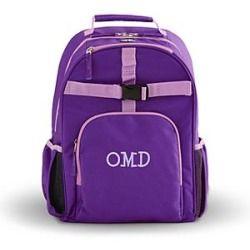 Girls Embroidered Backpack - Purple - Fun Serif - Light Purple Thread - Monogram - S