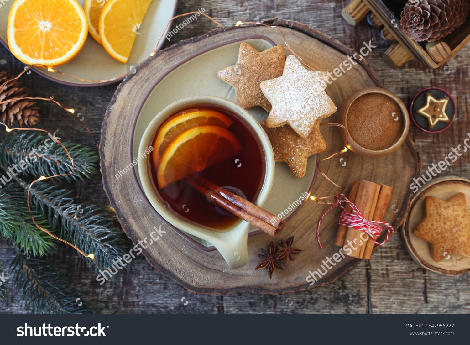 Christmas Cinnamon Cookies Spice Cake Cup Of Spicy Tea And New Year S Decoration Rustic Style Top View Royalty Cinnamon Cookies Spicy Tea Food And Drink