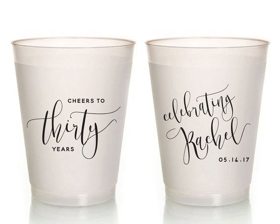 30th Personalized Birthday Party Cups