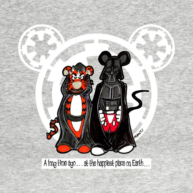 Awesome 'Darth+Mickey%2C+Tigger+Maul' design on TeePublic! - J.R. Mounts parodies many popular characters as well as plenty of his own creations at www.scairytalesnoir.com (SciFi Tshirts)