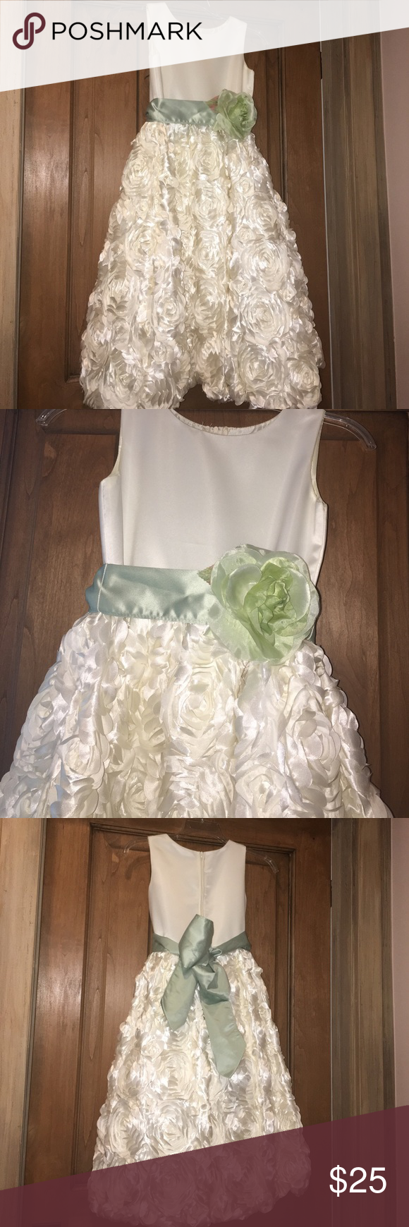 Flower girl dress green satin flower girl dresses and dress formal