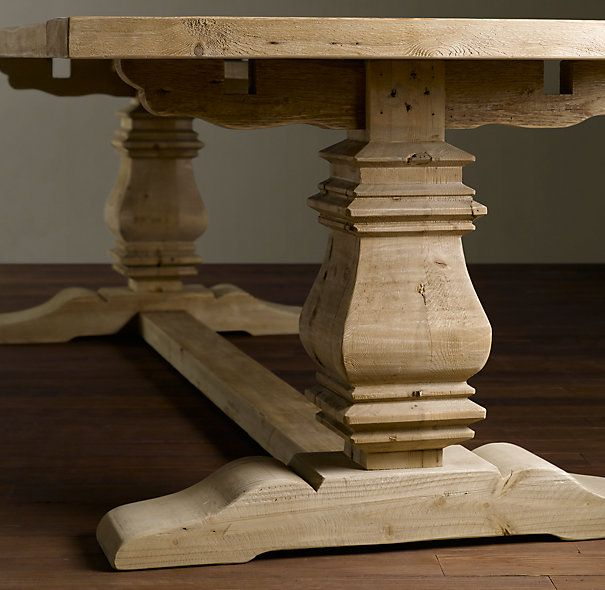 Dining Room Table Slides: Salvaged Wood Trestle Rectangular Extension Dining Table