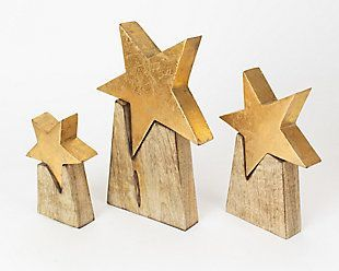 Photo of Holiday Set of Three Wooden Star on Base, , large #marchédenoel Holiday Set of …