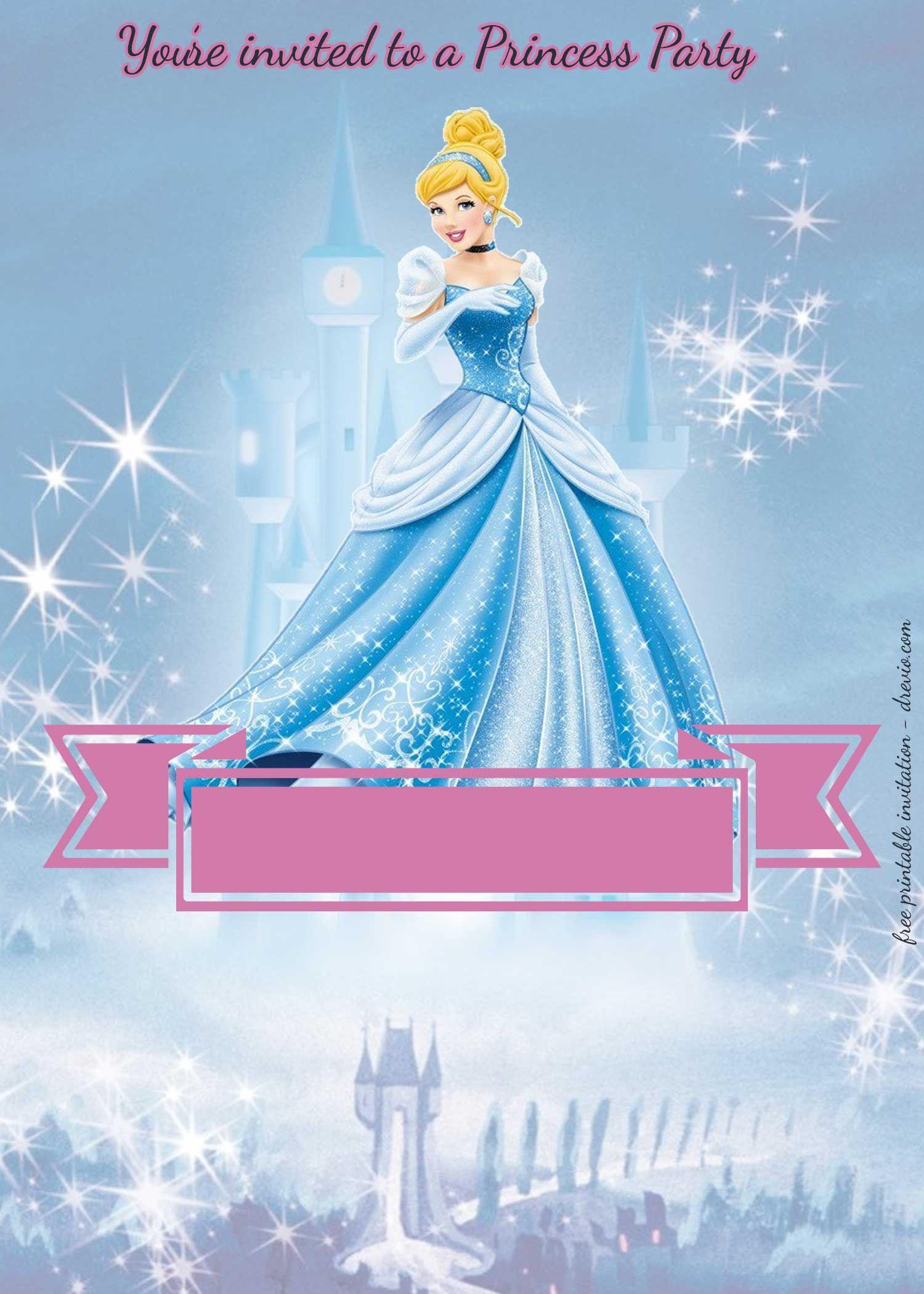 free princess party birthday invitation templates free printable