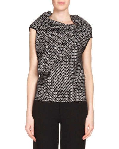 B2XRB Roland Mouret Alston Chain-Birdseye-Print Top, Black/White