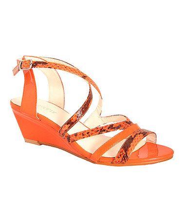 Look what I found on #zulily! Orange Sevita Wedge Sandal by Intaglia #zulilyfinds