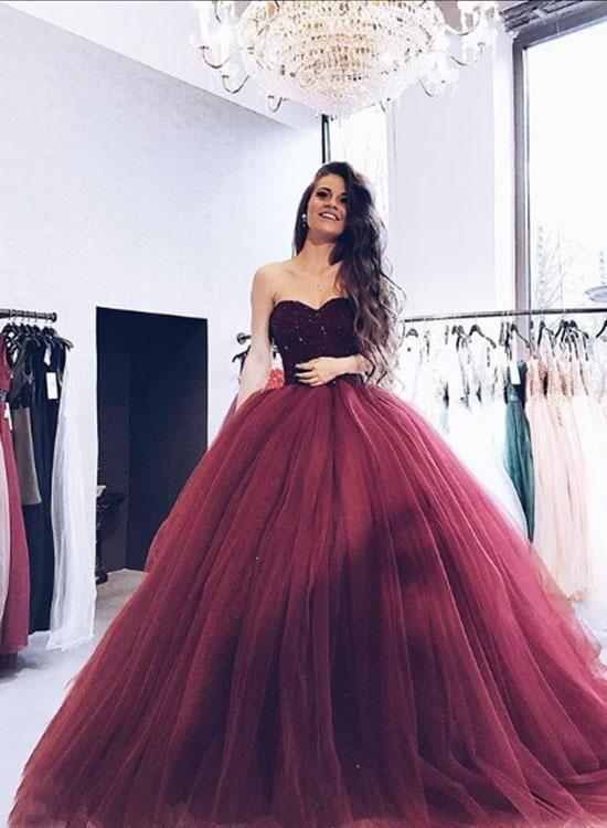 2018 Burgundy Strapless Ball Gown Beaded Long Custom Evening Prom ...
