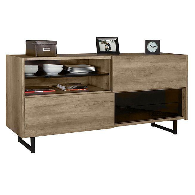 Tempo Buffet bas avec 2 portes coulissantes et 2 tiroirs Idée Déco - meuble de rangement avec tiroir