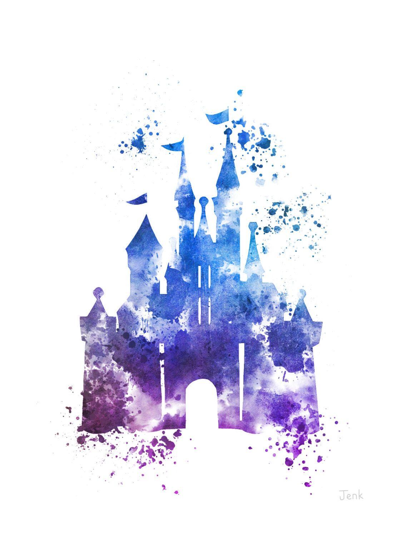 Cinderella Castle ART PRINT Blue illustration, Disney ...
