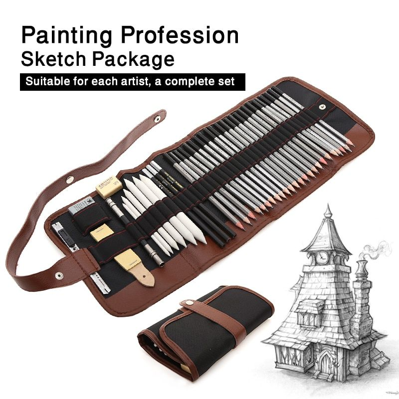 Cheap 39 Unids Dibujo A Lápiz Conjunto Profesional Dibujo Kit Lápiz De Madera Estuches De Lápices Para Pintor Escuel Kit De Dibujo Lapices Lapices Para Dibujar