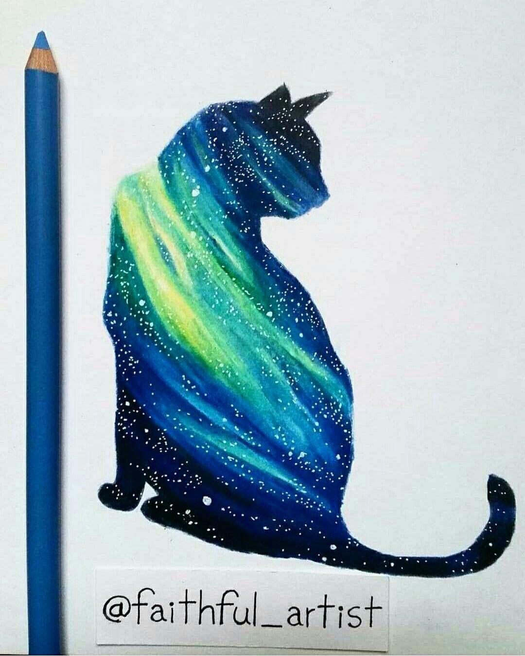 Pin By Shariton C Luna On Arts Patterns Drawings Galaxy Cat Cat Tattoo Cat Art