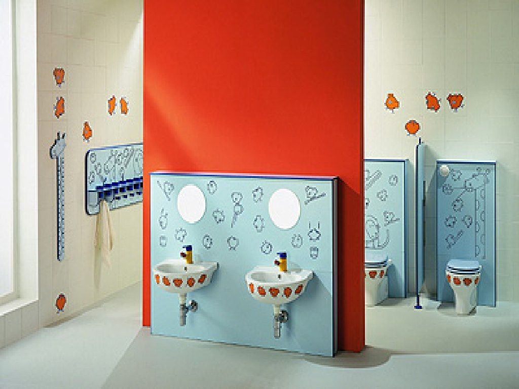 Stylish Red And White Color Scheme Kids Bathroom Design Inspirations For Brighten With Double Wall Mounted