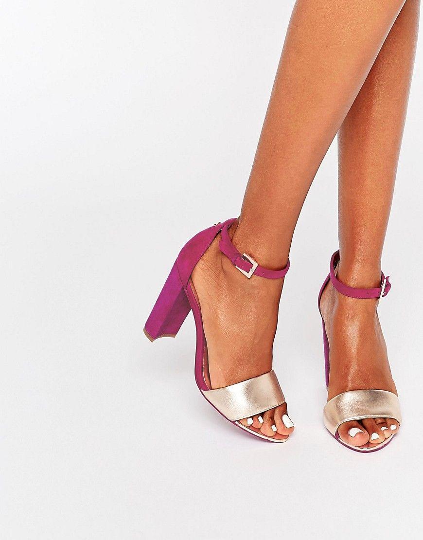 Image 1 of Ted Baker Hot Pink Metallic Block Heel Sandals