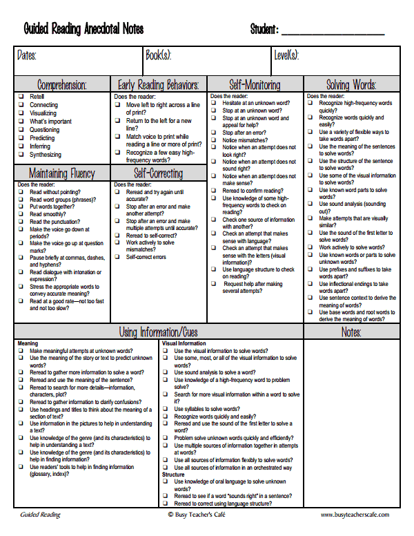 anecdotalnotes_upper pdf | school stuff | Guided reading