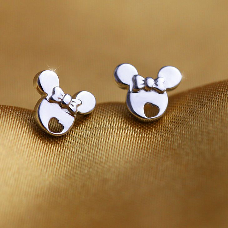 Mickey Mouse Stud Earrings for Girls Women Hypoallergenic S925 Sterling Silver Opal Earrings Gifts for Girls