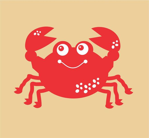Crab Wall Decal, smiling crab decal, beach decor, under the sea ...