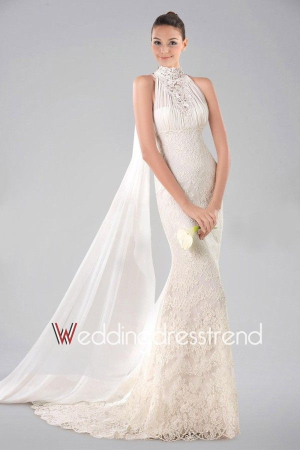 Vintage Appliqued High Neck Empire Lace Ruched Wedding Dress ...