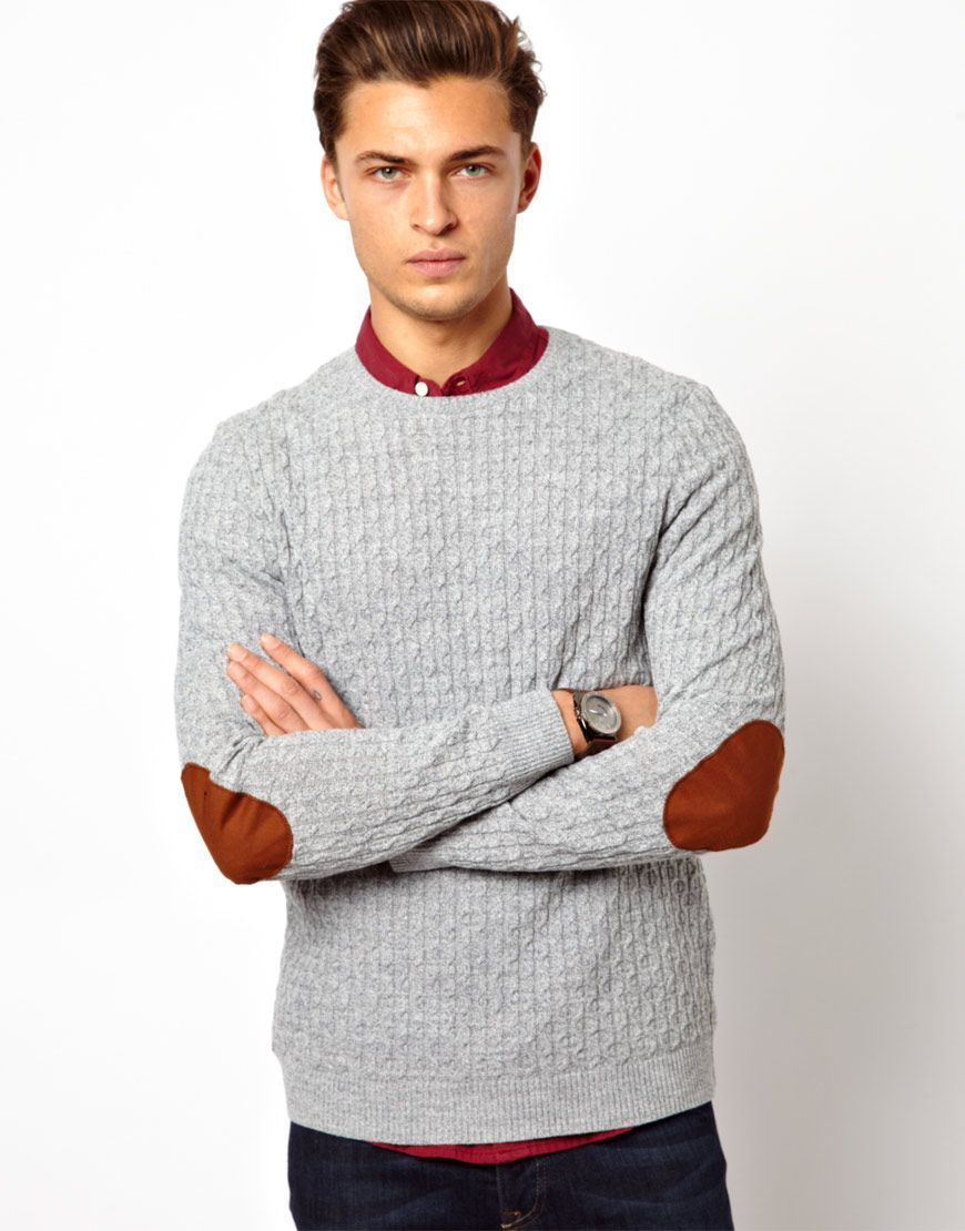 ASOS | ASOS Cable Jumper with Elbow Patches at ASOS | Sweater ...