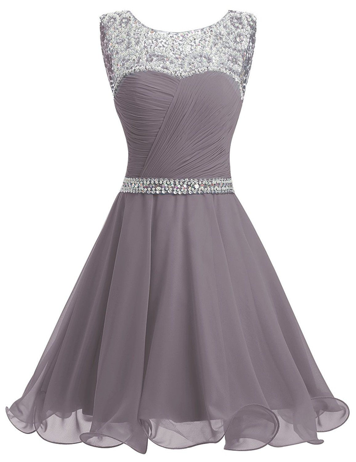 Dresstellsureg short chiffon open back prom dress with beading