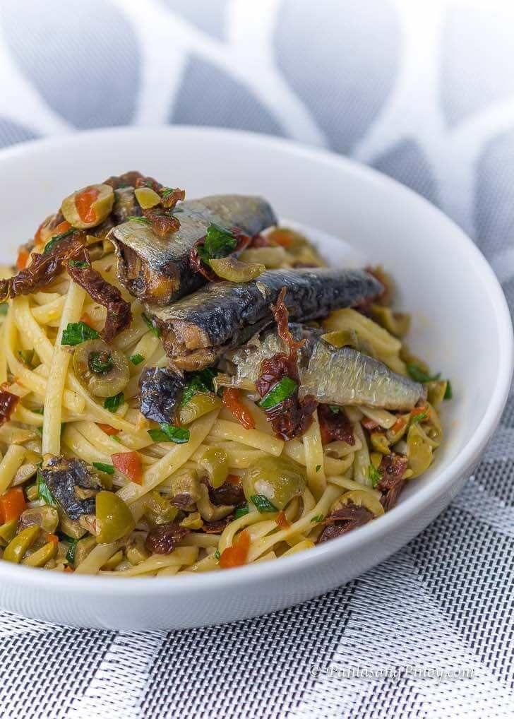 Spanish Sardines Pasta with Sun Dried Tomato and Chopped Olives  - Easy dinner -