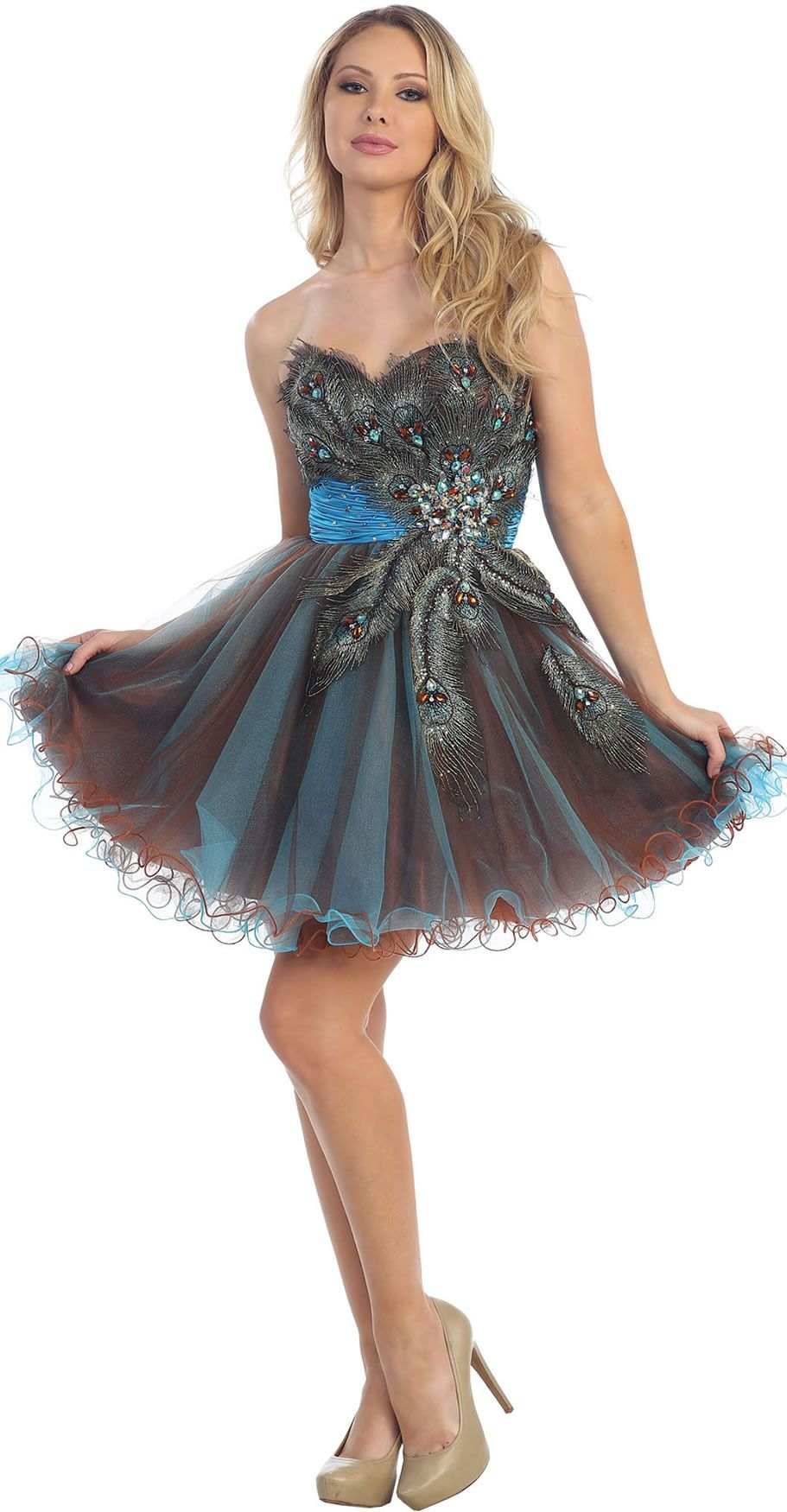 Turquoise peacock detailed strapless short prom u homecoming dress