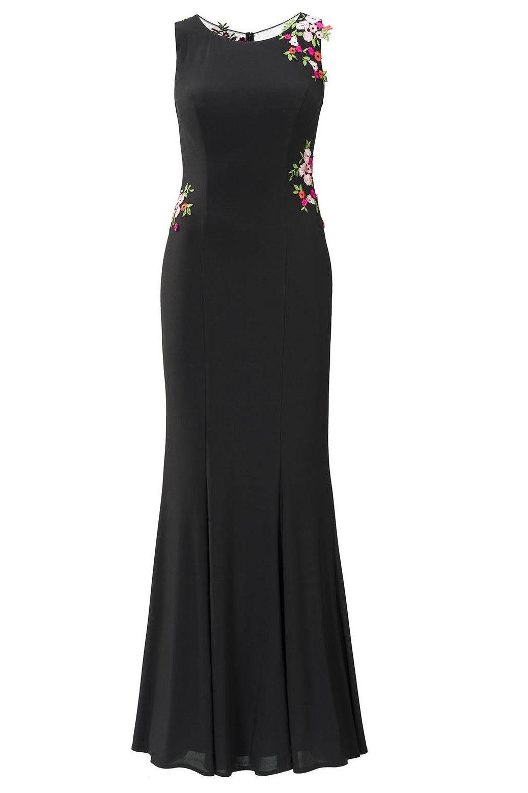 langes kleid schwarz stickerei rosera in 2020 | abendkleid
