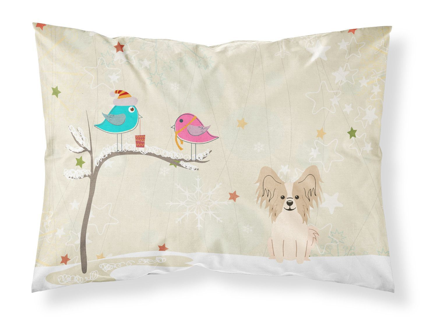 Christmas Presents between Friends Papillon Sable White Fabric Standard Pillowcase BB2549PILLOWCASE