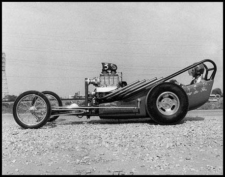 Front engine dragster with Buick nailhead engine.