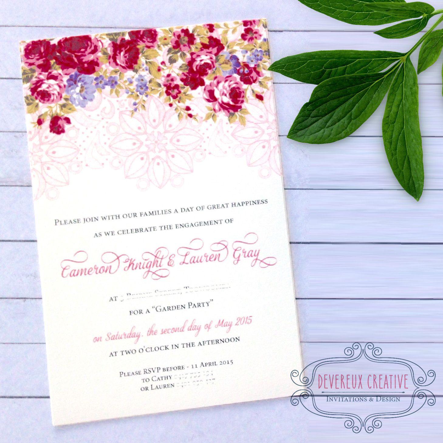 Floral wedding invitation - Toowoomba Australia | Wedding ...