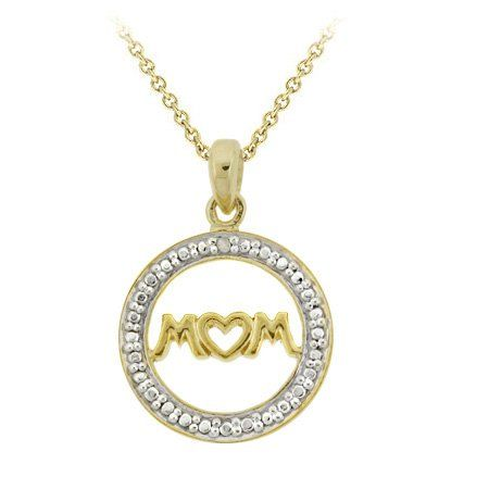 "#Jewelry, #Necklaces 18k Gold über Silber Diamant Akzent ""Mom"" Anhänger #Diamond, #Gold, #Jewelry, #Necklaces, #TopRated @ BrightJewelryStore."