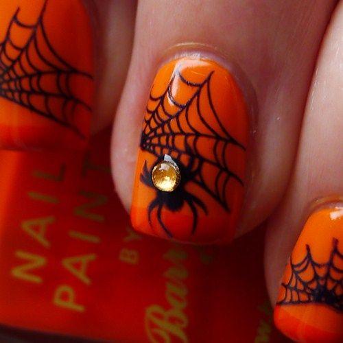 Orange Black Spiderweb Spider Halloween Nails Holidays Barry M Nail Polish Color Block Orange Halloween Nails Holiday Nails Rhinestone Nails